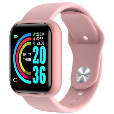 Ceas smartwatch L18, Bluetooth, Pedometru, Monitorizare Somn Puls Activitati, Notificari, Pink