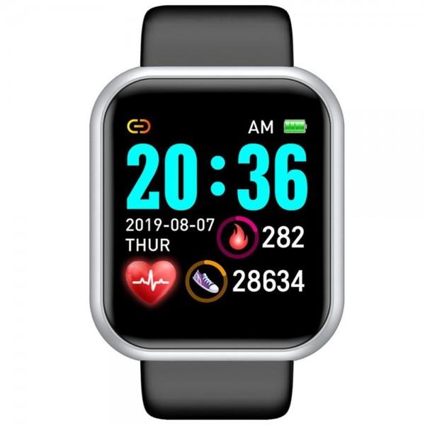 Ceas smartwatch L18, Bluetooth, Pedometru, Monitorizare Somn Puls Activitati, Notificari, Black