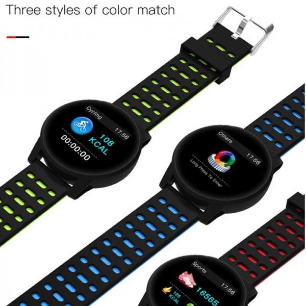 Ceas smartwatch fitness P119, Bluetooth, Monitorizare Activitati Sanatate Puls Oxigen, Notificari, Black