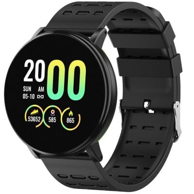 Ceas smartwatch fitness P119, Bluetooth, Monitorizare Activitati Sanatate Puls Oxigen, Notificari, Black
