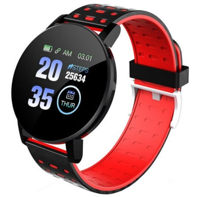 Ceas smartwatch fitness P119, Bluetooth, Monitorizare Activitati Sanatate Puls Oxigen, Notificari, Red