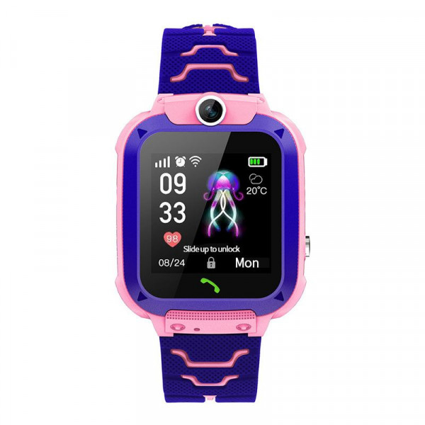 Ceas smartwatch copii Q12 Kids Pink, SIM, Full Touchscreen, Localizare LBS, SOS