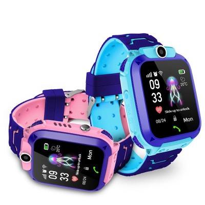 Ceas smartwatch copii Q12 Kids, suport SIM, Full Touchscreen, Localizare LBS, SOS, Blue