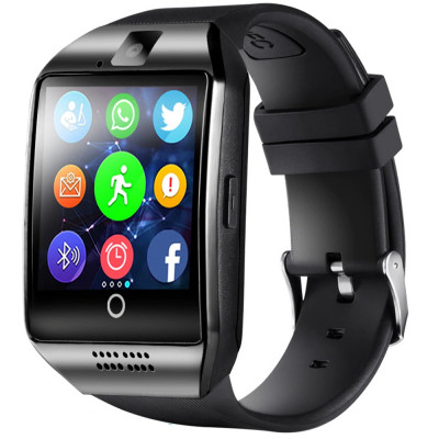 Ceas smartwatch Q18, suport SIM, 1.54-inch, Bluetooth, Camera foto, Metalic, Negru