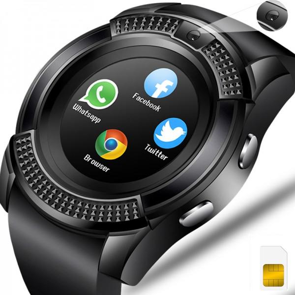 Ceas smartwatch V8, suport SIM 2G, Touchscreen, Bluetooth, Camera foto, Aliaj, Negru