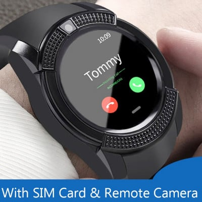 Ceas smartwatch V8, suport SIM, 1.22-inch, Bluetooth, CPU MediaTek, Camera foto, Aliaj de Zinc, Black