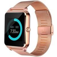 Ceas smartwatch Z60, suport SIM, Bluetooth, Camera, Curea metalica, Gold