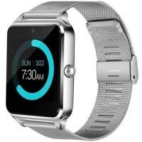 Ceas smartwatch Z60, suport SIM, Bluetooth, Camera, Curea metalica, Silver