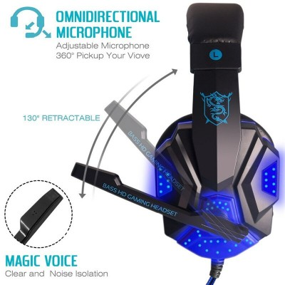 Casti gaming PC, Over-Ear, Microfon ajustabil, LED Blue, Pernute piele PU, Black