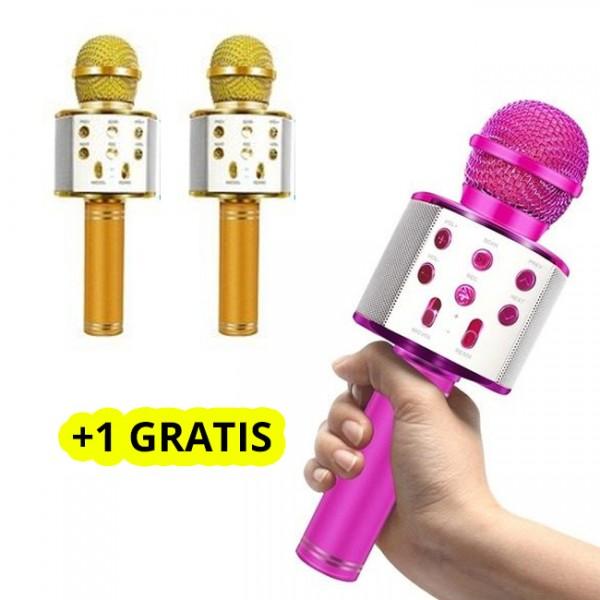 Microfon Karaoke Copii, Bluetooth, Functie Ecou, Difuzor Sunet, Gold + 1 GRATIS