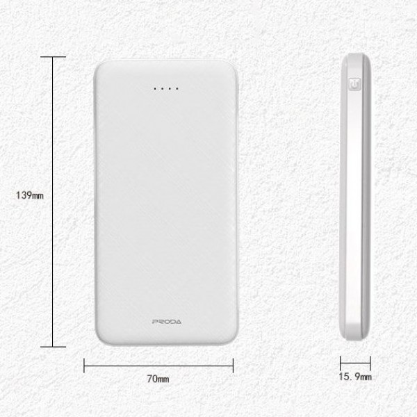 Baterie externa Proda PowerBank 10000mAh, 2x USB, 2.1A Fast Charge, Type-C, Black
