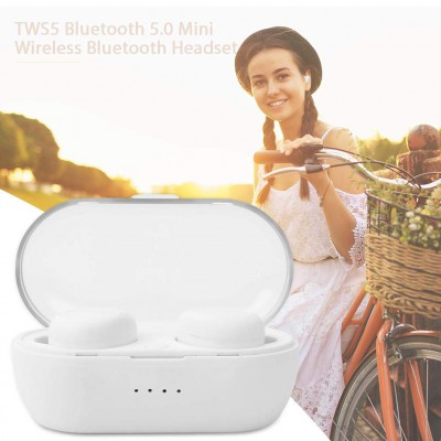 Casti wireless TWS 5 Earbuds, Bluetooth 5, Touch, Dock, Bass Boosted, White