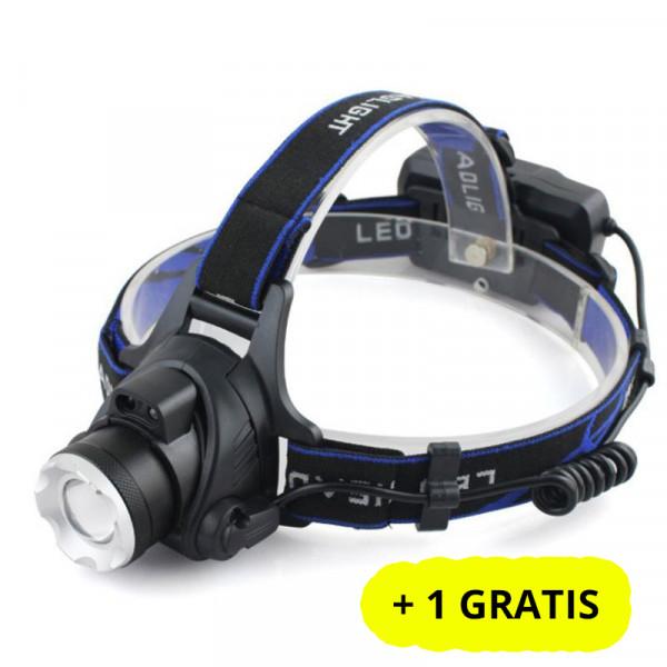 Lanterna de cap puternica T6 LED, Lentila, Zoom, Acumulatori + 1 GRATIS
