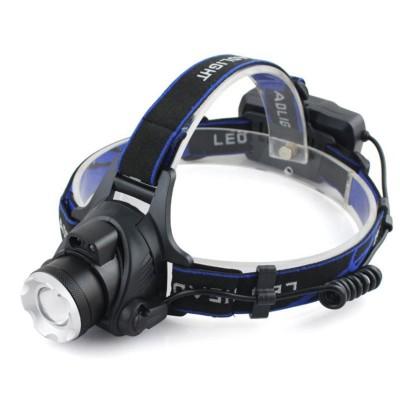 Lanterna de cap puternica T6 LED, Lentila, Zoom + Acumulatori